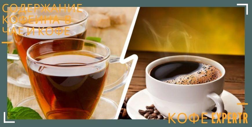 Содержание кофеина в чае и кофе
