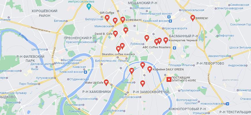 Карта московских кофеен